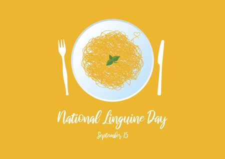 Vector Illustration Keywords: Plate of spaghetti vector. Pasta isolated on yellow background. Pasta with basil icon. Linguine Day Poster, September 15th. Important day