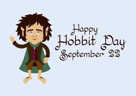 Hobbit Day vector. Hobbit cartoon character. Vector Illustration Keywords: Frodo Baggins vector. Happy Hobbit Day Poster, September 22 Stock Illustratie