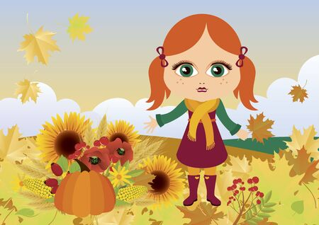 Vector Illustration Keywords: Vector Illustration Keywords: Redhead little girl icon. Redheaded autumn girl in rubber boots. Vector Illustration Keywords: Vector Illustration Keywords: Illustration