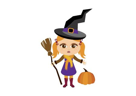 Little Witch Halloween Costume Vector. Vector Illustration Keywords: Witch icon. Little cute girl in Halloween witch costume. Vector Illustration Keywords: