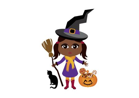 Cute little african american witch. Vector Illustration Keywords: Witch icon. Cute little african american girl in halloween witch costume. Vector Illustration Keywords: Adorable Afro american little girl icon Stock Illustratie