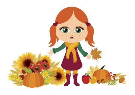 Vector Illustration Keywords: Vector Illustration Keywords: Sweet little girl on white background. Redhead little girl icon. Redheaded autumn girl in rubber boots