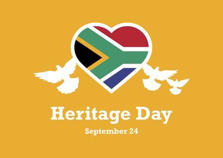 Parole Chiave Illustrazione Vettoriale: La bandiera del Sud Africa. Bandiera del Sudafrica a forma di cuore. Cuore della bandiera del Sudafrica Manifesto della Giornata del Patrimonio, 24 settembre. Giorno importante
