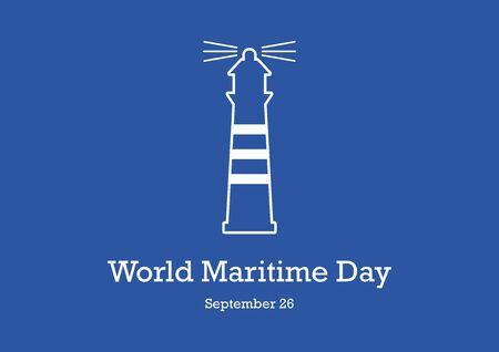 Vector Illustration Keywords: Beacon icon vector. Nautical lighthouse on blue background. Maritime Day Poster, September 26