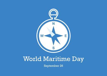 Vector Illustration Keywords: Compass icon vector. Compass on blue background. Maritime Day Poster, September 26 Ilustração