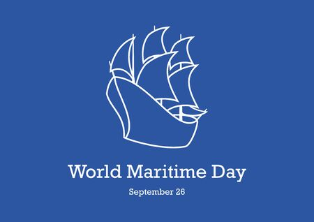 Vector Illustration Keywords: Ship on blue background. Vector Illustration Keywords: Sailing Boat vector icon. Boat icon vector. Maritime Day Poster, September 26