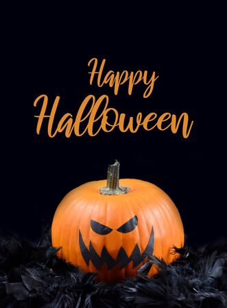 Happy Halloween sign stock images. Halloween pumpkin in black feathers. Grinning pumpkin photo. Scary halloween pumpkin stock images. Halloween pumpkin with spooky face. Happy Halloween banner