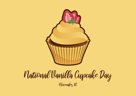 Vanilla Cupcake Day vector. Cupcake isolated on white background. Vanilla cupcake vector illustration. Important day Ilustrace