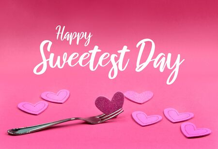 Happy sweetest day images. Heart on fork. Heart shape on pink background. Sweetest Day pink banner. Sweet american holiday Фото со стока