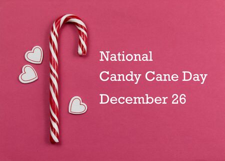 National Candy Cane Day images. Candy Cane Candy Cane Day Poster, December 26. Sweet Christmas symbol Фото со стока - 132369518