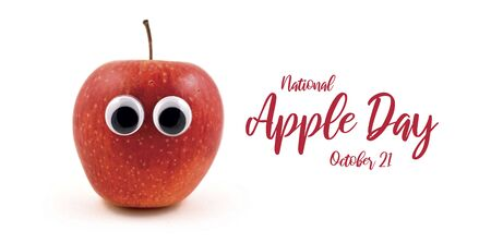 National Apple Day images. Red apple with eyes stock images. Funny apple character. Apple isolated on white background. Apple Day Poster, October 21. Important day Фото со стока - 132369521