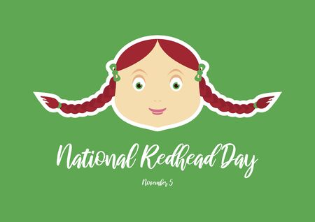 Vector Illustration Keywords: Vector Illustration Keywords: Redhead woman cartoon character. Cute little girl icon. Portrait of young woman with red hair