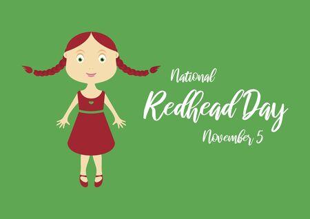 Vector Illustration Keywords: Vector Illustration Keywords: Redhead woman cartoon character. Cute little girl icon. Vector Illustration Keywords: Redhead girl in red dress