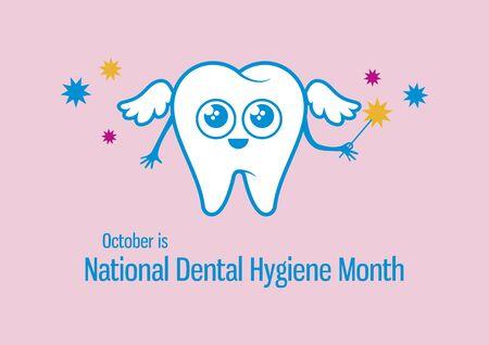 National Dental Hygiene Fairy cartoon character. Vector Illustration Keywords: Happy tooth isolated on white. Vector Illustration Keywords: Important day