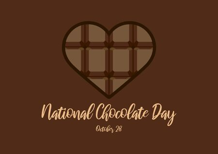 Vector Illustration Keywords: Chocolate Heart Shape Vector. Chocolate bar in heart shape vector. Chocolate Day Poster, October 28th. Important day Ilustrace