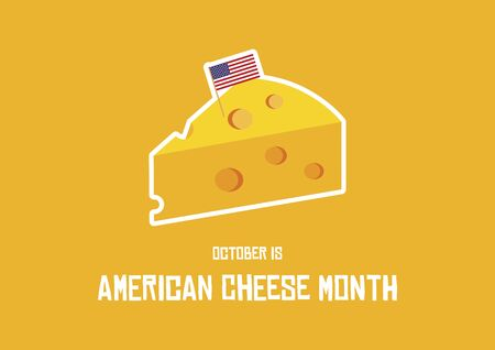 Vector Illustration Keywords: Cheese vector icon. Piece of cheese with american flag - vector. October is American Cheese Month Illustration