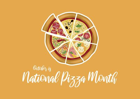 Vector Illustration Keywords: Pizza on yellow background. Sliced pizza vector. Vector Illustration Keywords: October is National Pizza Month. American Food & Beverage Holiday. Important day