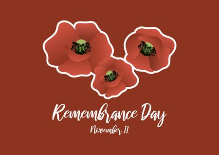 Vector Illustration Keywords: Poppies on red background. Poppy Day vector. Remembrance Day Poster, November 11