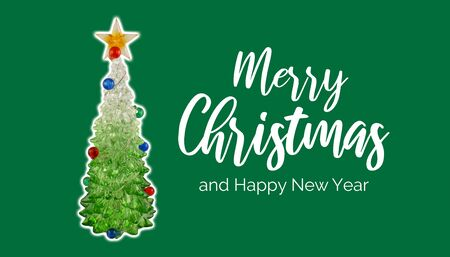 Merry Christmas and Happy New Year. Green christmas tree stock images. Festive green background. Happy New Year Sign