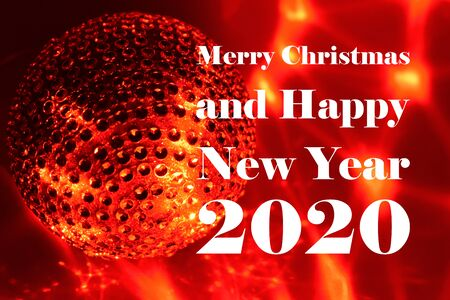 Merry Christmas and Happy New Year 2017 images. Inscription Happy New Year on red glossy background. Festive red background. Happy New Year 2020 Christmas background