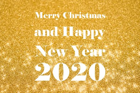 Merry Christmas and Happy New Year 2017 images. Inscription Happy New Year. Festive golden background. Happy New Year 2017 Sign on a golden starry background Фото со стока - 132487760