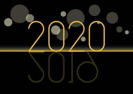 Happy New Year 2020 vector illustration. Black golden New Year background. Inscription 2020 on black gold background. New Year number 2019 2020. New year 2019 and coming New Year 2020 Иллюстрация