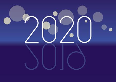 Happy coming New Year 2017 vector. Blue New Year background. Inscription 2020 on blue background. New Year 2019 2020. New Year 2019 and coming New Year 2020. Reflection of number 2020 2019 Фото со стока - 132487813