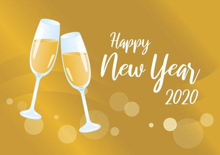 Golden Happy New Year 2020 Vector Illustration Keywords: Vector Illustration Keywords: Festive golden background. Shiny golden background