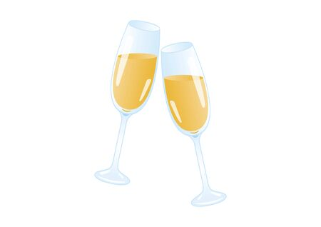 Vector Illustration Keywords: Vector Illustration Keywords: Champagne isolated on a white background. Vector Illustration Keywords: Two glasses of champagne