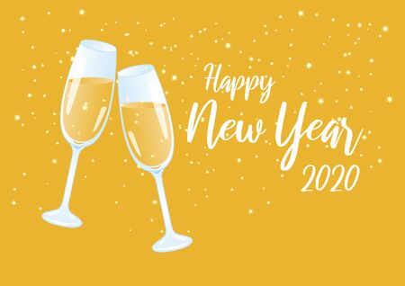 Happy New Year 2020 vector illustration. Vector Illustration Keywords: Vector Illustration Keywords: Festive starry background. Shiny golden background. Two glasses of champagne