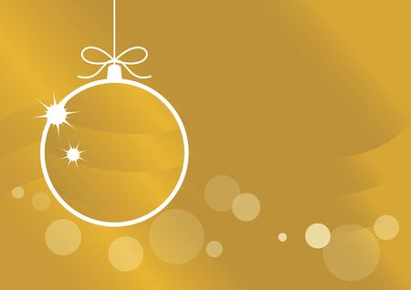 Golden Christmas ball on a white background. Hanging Christmas ball vector. Gold Christmas ornament illustration. Elegant golden christmas background. Christmas ball on golden shiny background. Festive golden background. Christmas ornament on a white background with copy space for text