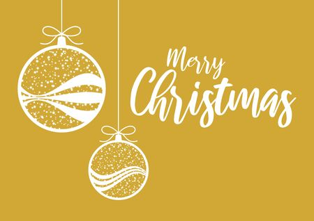 Hanging Christmas Ball Vector Illustration. Vector Illustration Keywords: Gold Christmas ornament illustration. Merry Christmas Sign. Elegant golden christmas background Иллюстрация