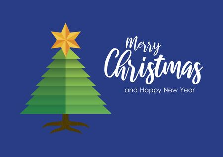 Merry Christmas and Happy New Year Sign. Vector Illustration Keywords: Christmas tree with star. Vector Illustration Keywords: Merry Christmas inscription Фото со стока - 132545732