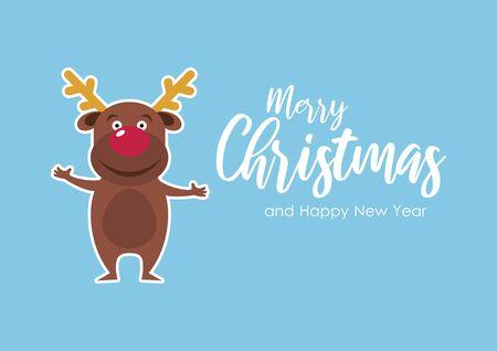 Merry Christmas and Happy New Year Sign. Vector Illustration Keywords: Cute Christmas reindeer cartoon character. Reindeer on blue background. Merry Christmas inscription Иллюстрация