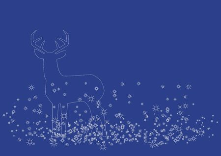 Christmas deer vector illustration. Christmas background with deer. Vector Illustration Keywords: Vector Illustration Keywords: White silhouette of reindeer. Simple Christmas background with copy space for text Stok Fotoğraf - 133043099