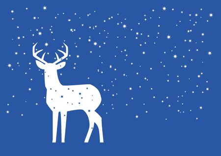 White deer in snow vector. Christmas deer vector illustration. White silhouette of reindeer. Simple Christmas background with copy space for text Фото со стока - 132974306