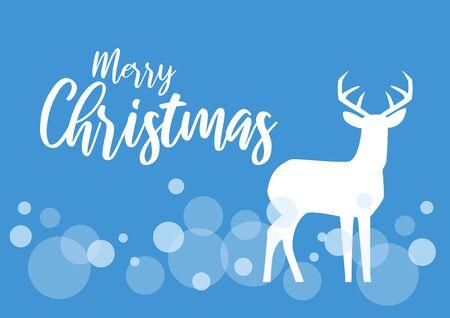 Vector Illustration Keywords: Christmas deer vector illustration. White silhouette of reindeer. Happy Christmas deer vector. Merry Christmas inscription Иллюстрация