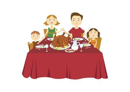 Happy Family at Thanksgiving Dinner Vector. Thanksgiving family dinner vector. Holiday dinner with family illustration. Vector Illustration Keywords: Vector Illustration Keywords: Holiday dinner with turkey Stok Fotoğraf - 133051373