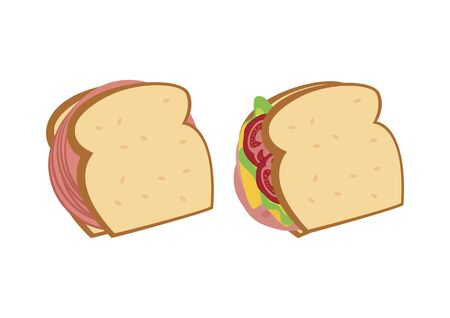 Different Types of Sandwiches Vector. Salami sandwich icon. Bologna sandwich vector. Sandwich with ham, cheese and vegetables vector. Different sandwiches isolated on white background. Vector Illustration Keywords: