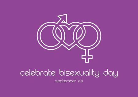 Vector Illustration Keywords: Bisexuality icon vector. Bisexuality symbol with heart. Celebrate Bisexuality Day Poster