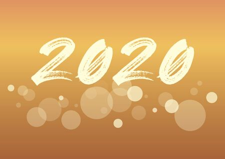 2020 New Year Sign. 2020 New Year Poster. New Year 2020 Inscription on golden festive background. Brush painted number 2020 vector
