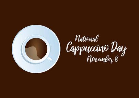 National Cappuccino Day Vector. Cup of cappuccino. Vector Illustration Keywords: Cappuccino Day Poster, November 8 Фото со стока - 134170440