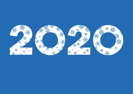 2020 white sign with snowflakes vector. 2020 Sign isolated on a white background. 2020 New Year Sign. Vector Illustration Keywords: Snowy Number 2020 Vector