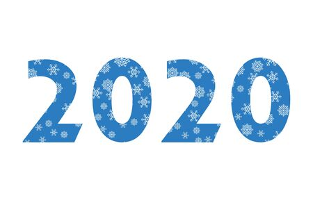 2020 blue sign with snowflakes vector. 2020 Sign isolated on a white background. 2020 New Year Sign. Vector Illustration Keywords: Snowy Number 2020 Vector Фото со стока - 134170439