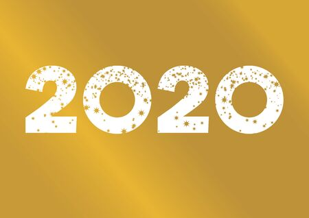 2020 White Sign with Golden Stars Vector. 2020 Sign isolated on a white background. 2020 New Year Sign. Golden number 2020 vector. Golden Starry Inscription 2020