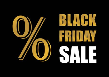 Sale Friday golden percent vector. Label for Black Friday. Black Friday Wholesale Poster. Golden black friday on a dark background Иллюстрация