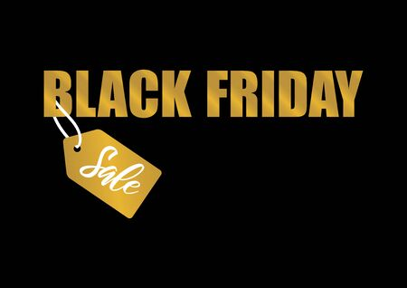 Black Friday Sale golden label vector. Label for Black Friday. Black Friday Wholesale Poster. Golden black friday on a dark background. Black Friday tag vector