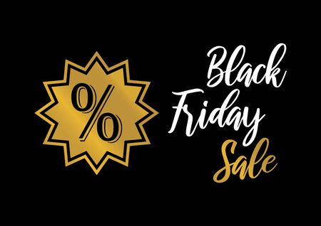 Sale Friday golden percent vector. Label for Black Friday. Black Friday Wholesale Poster. Golden black friday on a dark background Фото со стока - 134170447