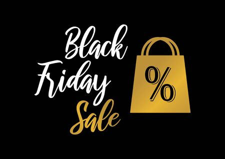 Black Friday Sale golden label vector. Label for Black Friday. Golden shopping bag. Golden black friday on a dark background. Black Friday tag vector Фото со стока - 134170449