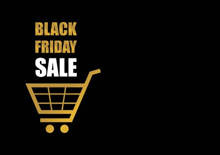 Black Friday Sale golden label vector. Label for Black Friday. Shopping cart icon. Golden black friday on a dark background. Black Friday tag with copy space for your text Фото со стока - 134170448
